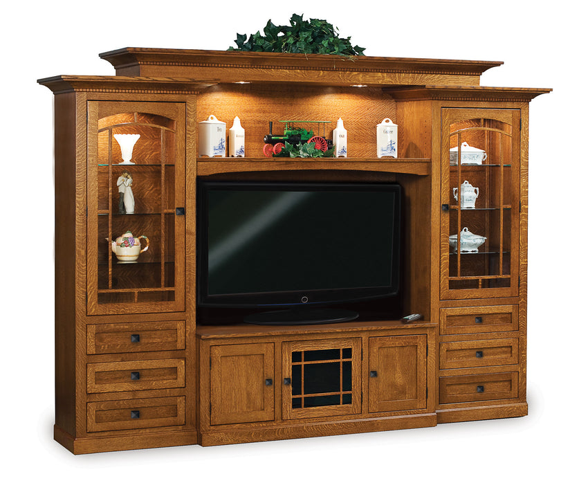 Manhattan Mission Wall Unit w/Adj. Bridge for wide screen TV's