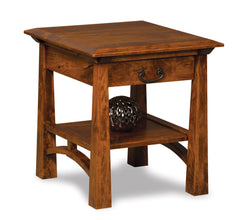 Artesa Open End Table with Drawer and Shelf