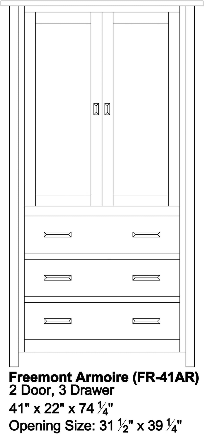 Freemont Mission Armoire, 2 Door, 3 Drawer
