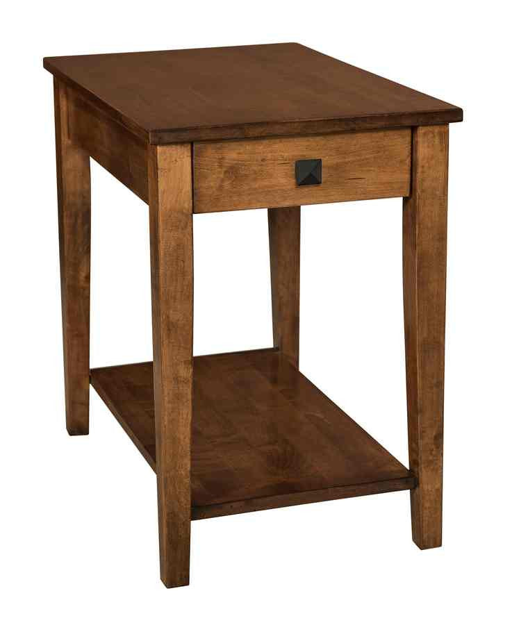 Carriage End Table with Drawer