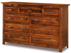Flush Mission 9 Drawer Dresser w/Arch Drawer, 2 Jewelry Drawers