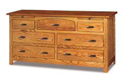 Flush Mission 7 Drawer Dresser w/Arch Drawer, 2 Jewelry Drawers