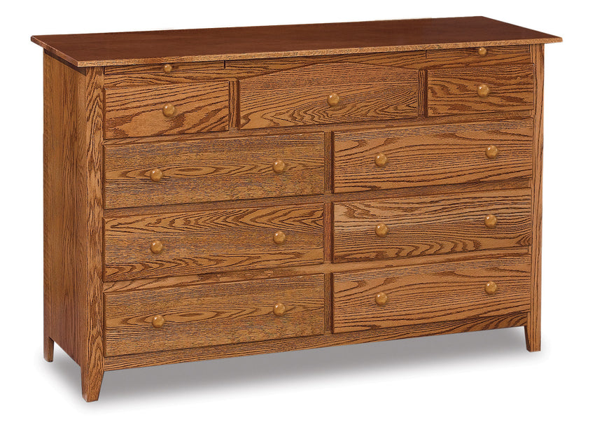 Shaker 9 Drawer Dresser w/Arch Drawer, 2 Jewelry Drawers