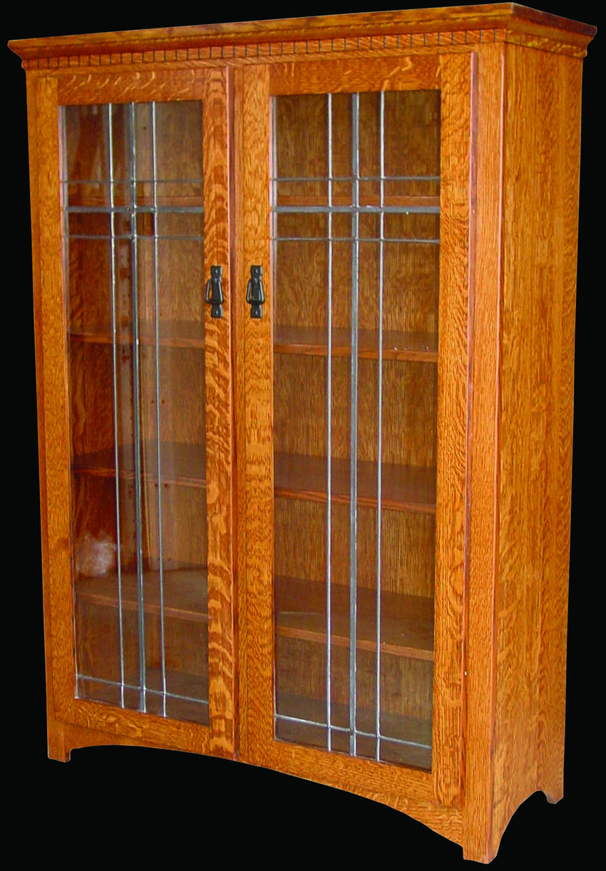 Mission Bookcase With Leaded Glass Doors