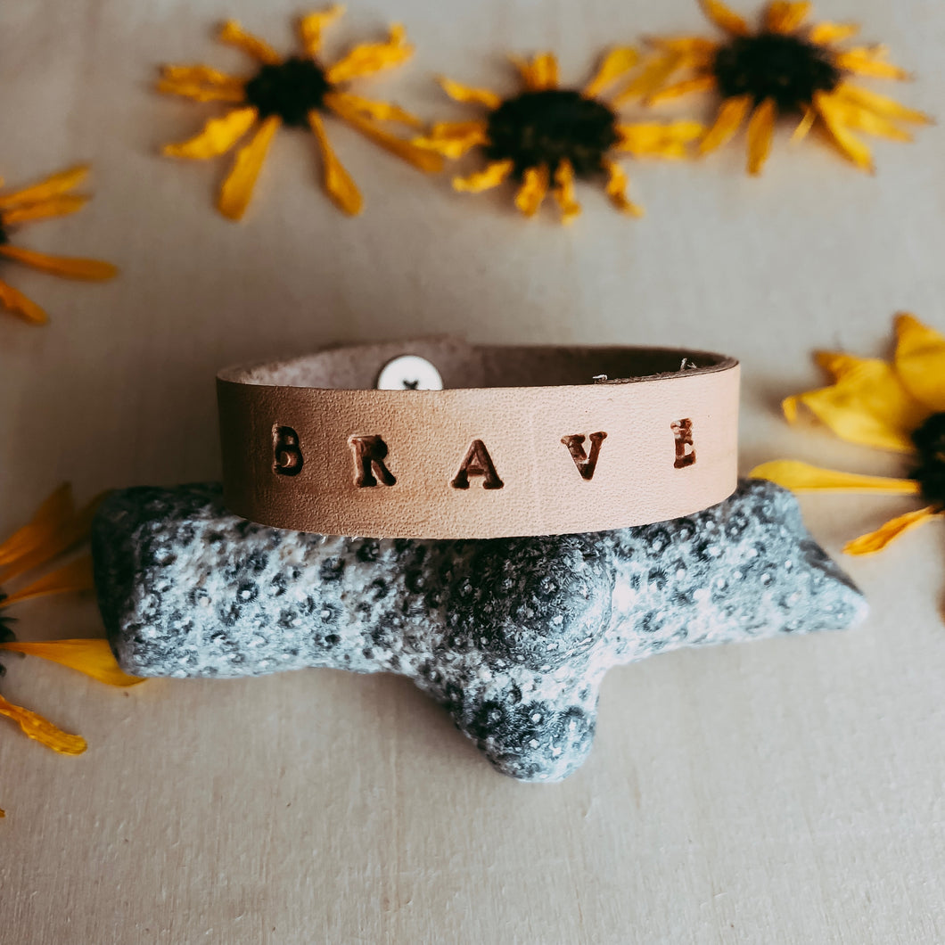Customized Children's Leather Diffuser Bracelet (Handstamped)