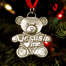 Jesus Loves Me Teddy Bear Christmas Ornament