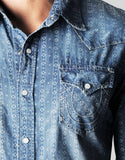 INDIGO PATTERN WESTERN MENS SHIRT