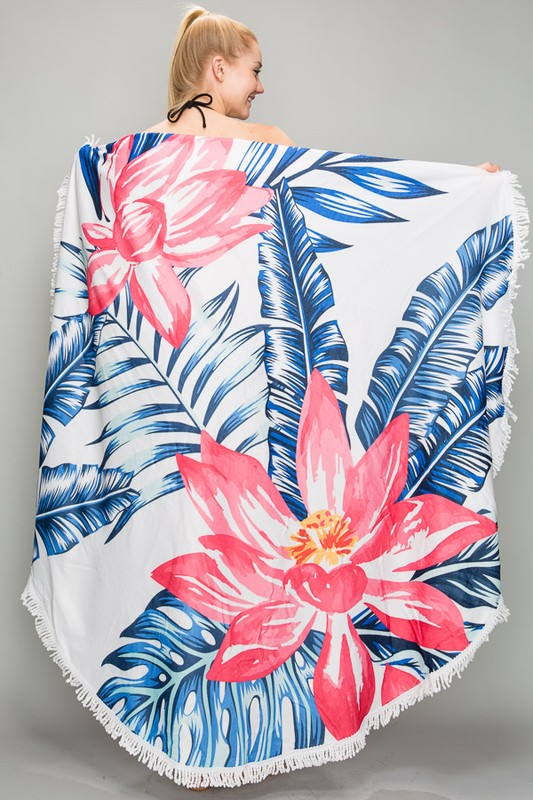 Round Beach Blanket - Hawaiian Flower