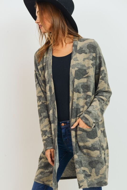 Brushed Camo Cardigan