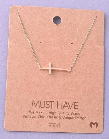 Dainty Necklace - Sideways Cross
