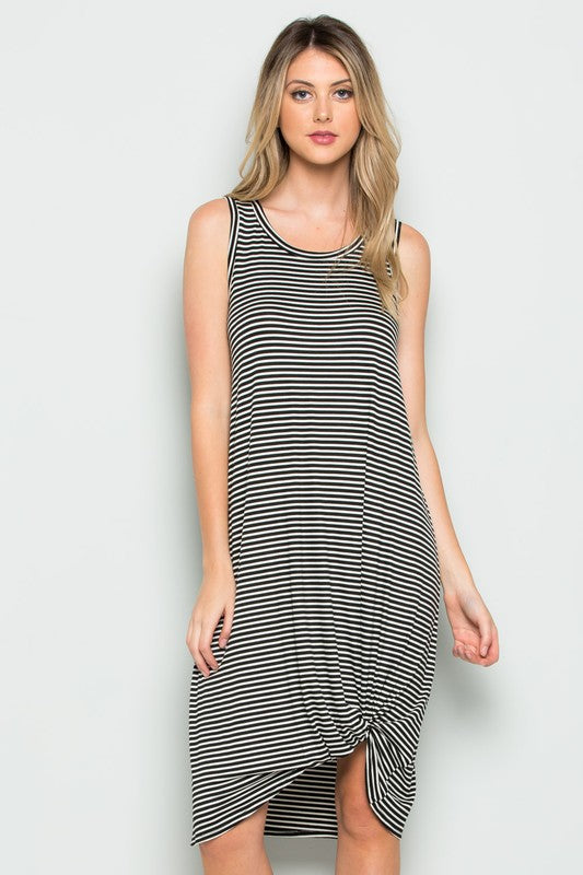 Black & White Striped Knotted Dress