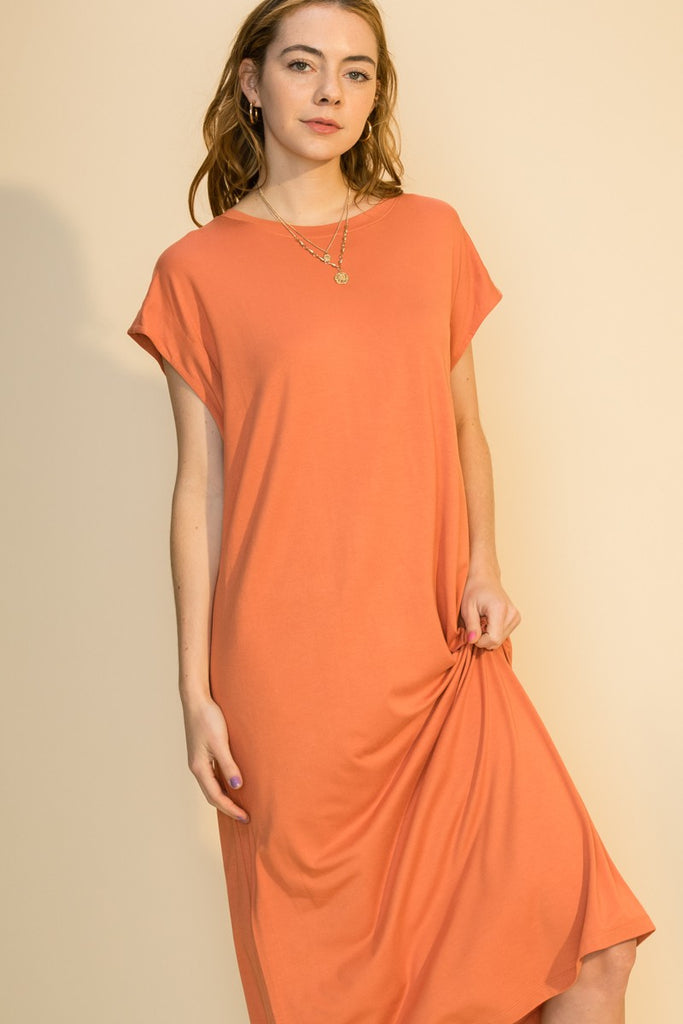 Lauren Solid Dress (Tangerine)