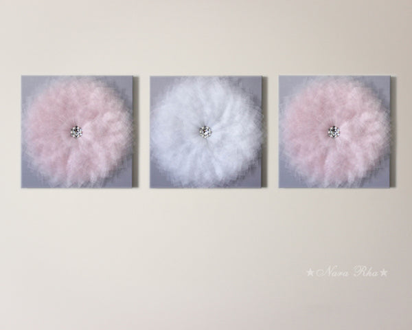 Glimmer Baby Pink and White Flower on Grey Canvas - Set of Three
