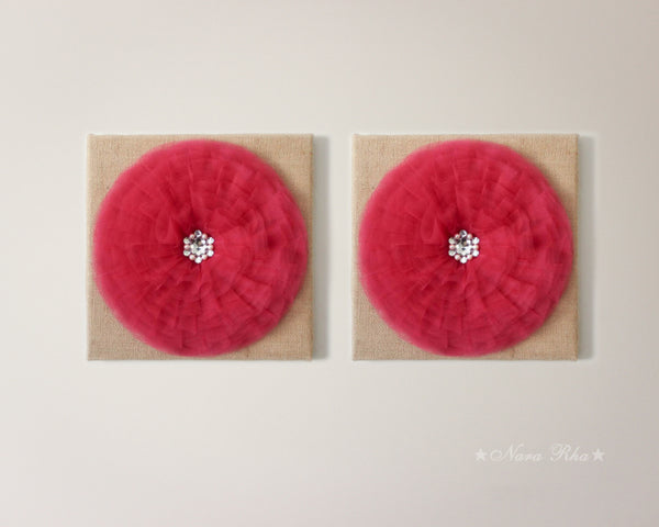 Garnet Round Flower Canvas Wall Art