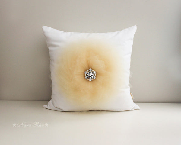 beige flower cushion