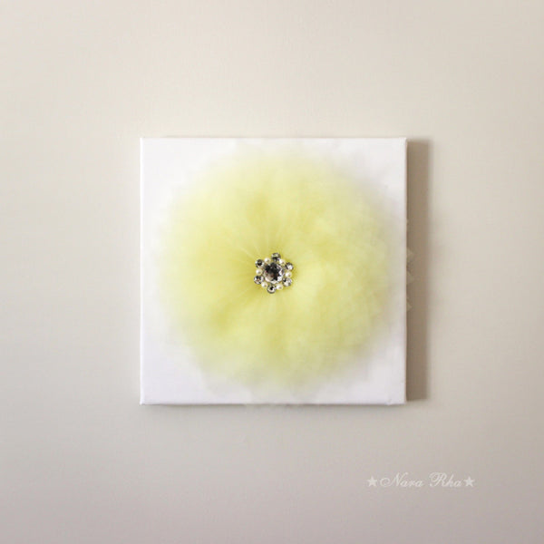 light yellow tulle flower