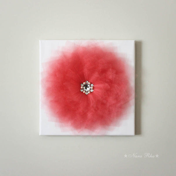 glimmer coral flower canvas