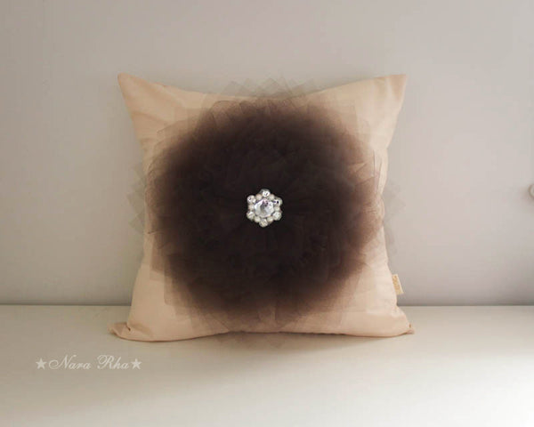 Brown Flower Pillow case