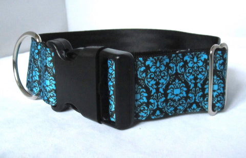 "1.5"" wide clasp black damask dog collar"