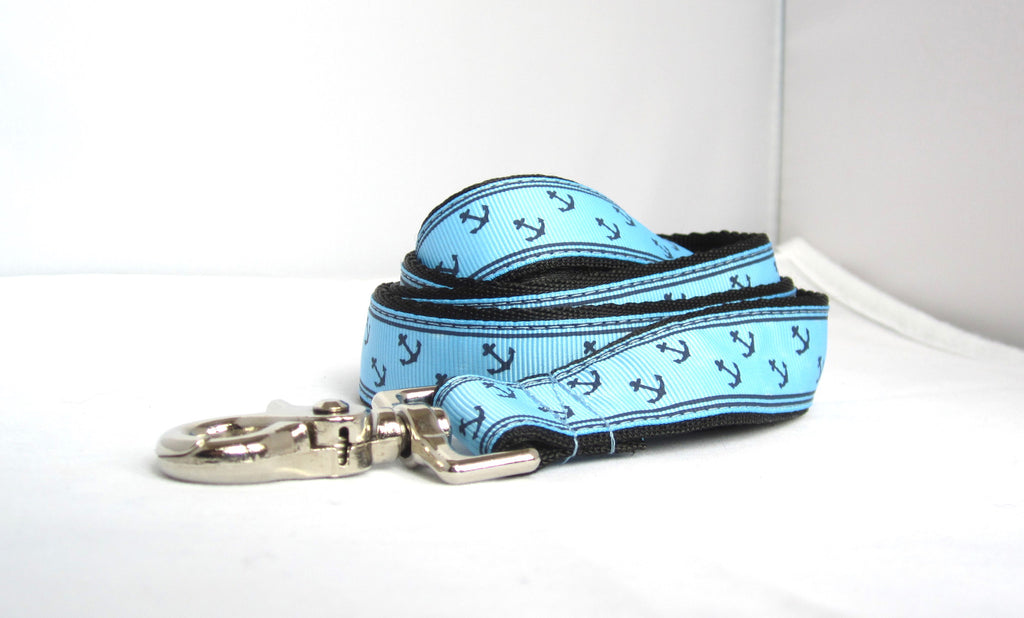 "1"" 4ft or 6ft baby blue anchors dog leash"