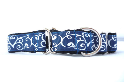 "1"" wide martingale blue swirls dog collar"