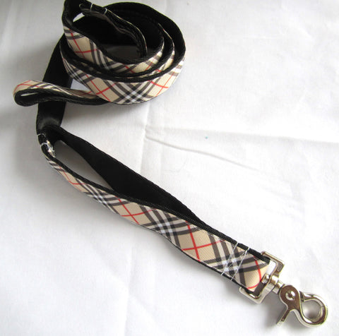 "1"" wide Designer tan argyle traffic dog leash"
