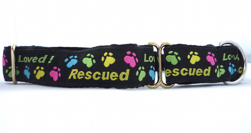 "1"" wide martingale Rescued and loved dog collar"