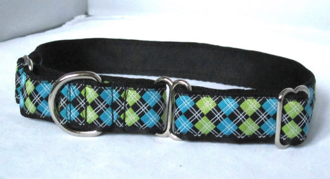 "1"" wide martingale black argyle dog collar"