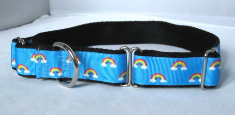 "1"" wide martingale baby rainbow dog collar"
