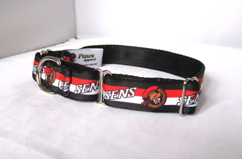 "1"" wide martingale Ottawa hockey dog collar"