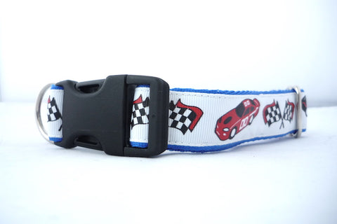"1"" wide clasp dog collar - VROOM Race Cars"