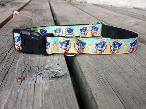 "1"" wide clasp dog collar - Super sonic hedgehog"