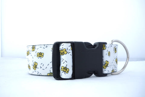"1.5"" wide clasp Bees dog collar-"