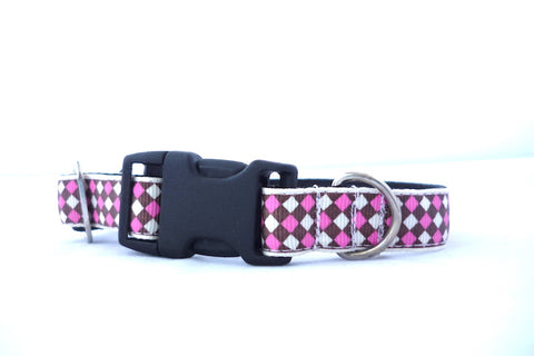 "3/4"" clasp collar pink/ cream argyle"