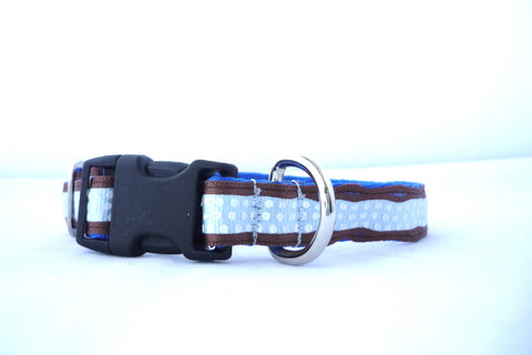 "3/4"" clasp collar- for the smaller pups- blue and brown dots"