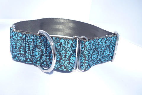 "1.5"" wide martingale black damask dog collar"