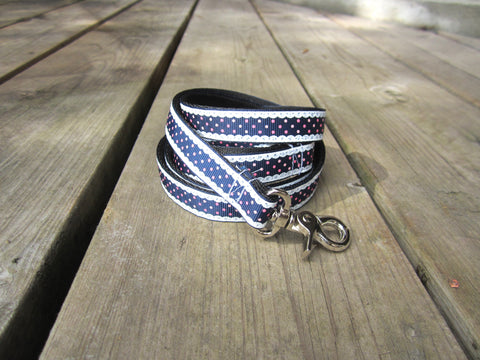 "3/4"" wide dog leash- blue frills"