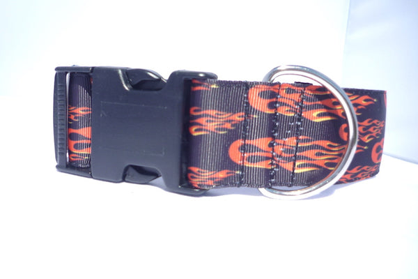 "1.5"" wide clasp Flames dog collar"