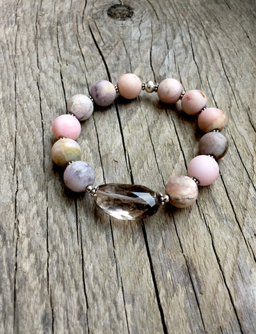 Smokey Quartz and Pink Opal Stretch Bracelet