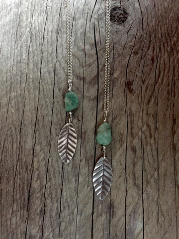 Emerald Gemstone & Leaf Pendant Necklace