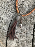 Tahitian Pearl & Sandalwood Tassel Necklace with Pavè Diamond Pendant