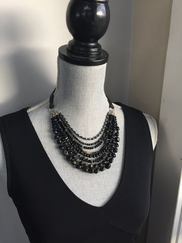Black Gemstone Erica Necklace