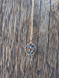 Blue Crystal Silver Dream Catcher Necklace