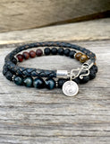 Denim Bola Leather Men's Bracelet with Yin Yang Charm