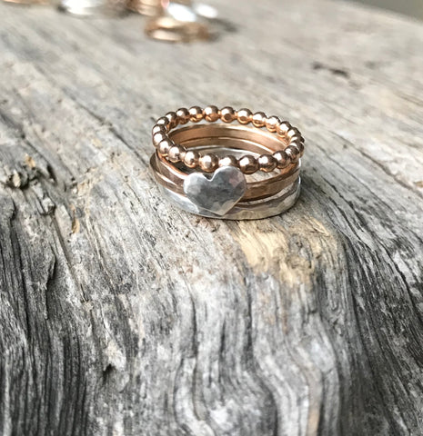Silver Heart & Gold Ring Set