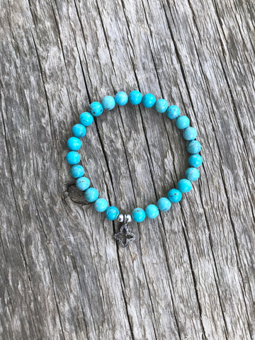 Arizona Turquoise Bracelet with Pavé Diamond Charm