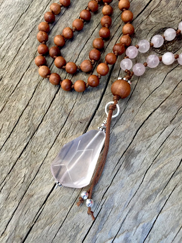 Rose Quartz and Sandalwood 108 Bead Mala