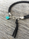 Men's Black Bola Leather Bracelet with Turquoise