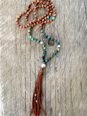 Turquoise and Sandalwood 108 Bead Mala