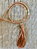 Peruvian Blue Opal & Sandalwood Tassel Necklace